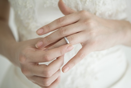 Bride wearing a wedding ring