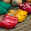 Old colorful Dutch wooden clogs